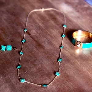 Kate Spade Green and Gold Stud Jewelry Set